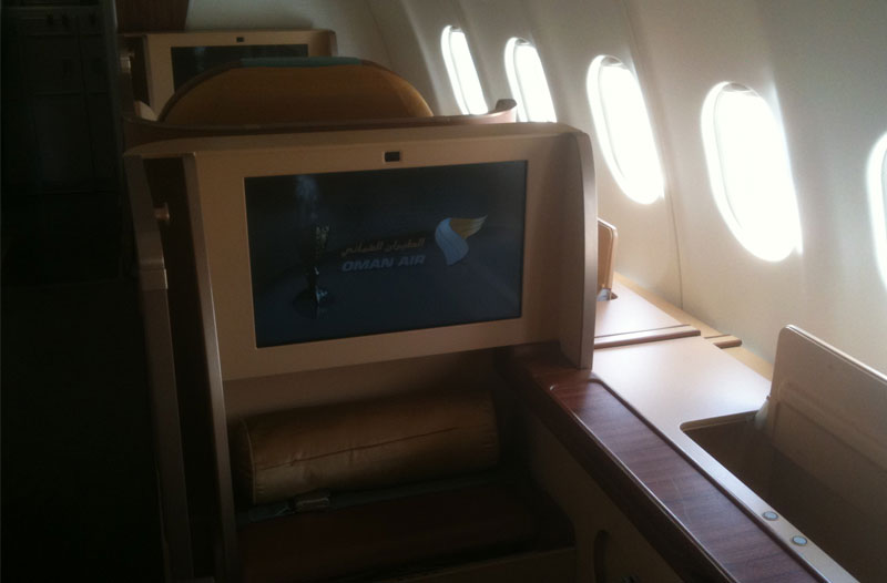 Oman Air First Class im A330 - Entertainment-Monitor